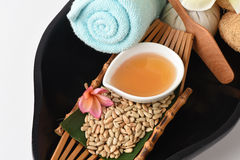 Face Mask with sunflower seeds and honey for skin health. Cereal and natural ingredients with medicinal properties Stock Photography