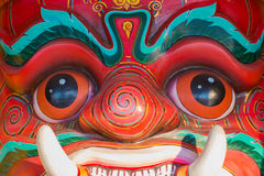 Face mask of Thai god. Mythologic creature, detail stock photo