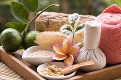 Face mask with Thanaka and lemon , spa treatments on natural background. stock photo