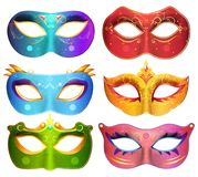 Face masks collection for masquerade party carnival masks vector. Illustration stock illustration