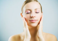 Face massage. Royalty Free Stock Image