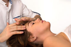 Face Massage Close-up of a Woman in Spa. Face Massage. Close-up of a Young Woman Getting Treatment in Spa Salon Stock Image