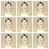 Face massage, illustration with asian woman for Royalty Free Stock Photo