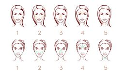 Face massage vector layout, portrait of woman with massage or cream apply lines in 5 steps.  Stock Image
