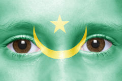 Face with mauritania flag Stock Images
