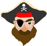 Face of a mean Pirate Vector Cartoon Royalty Free Stock Photography