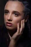 Face of Meditative Pensive Woman in Dreams Royalty Free Stock Photos