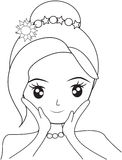 Face of a mermaid coloring page Stock Photography