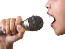 Face with microphone Royalty Free Stock Photography