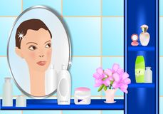 Face in the mirror, cdr vector Royalty Free Stock Photography