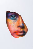Face of model with colorful art make-up, close-up Royalty Free Stock Images