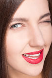 Face of model woman with clean skin Royalty Free Stock Photography