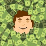 Face in Money. Head in dollars. financial Lucky. Businessman is. Bathed in cash. Vector illustration Stock Photos