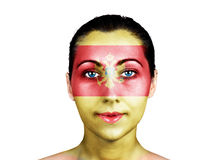 Face  with the Montenegro flag Royalty Free Stock Photography