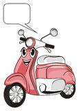 Face of moped with clean sign Royalty Free Stock Photo