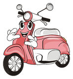 Face of moped with gesture. Happy face of pink moped show gesture rock and roll Royalty Free Stock Image