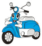 Face of moped with gesture. Smiling face of blue moped show gesture rock and roll Stock Photos