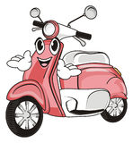 Face of moped with hands. Funny face of pink moped with two hands Stock Photos