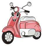 Face of moped. Smiling face of pink moped on a white background Royalty Free Stock Photo