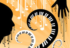 Face the music. Abstract illustration of music and man Royalty Free Stock Photography