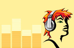 The face of music. Face of a young adult with headphones, with yellow equalizer background stock illustration