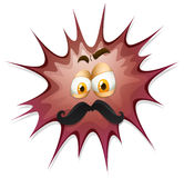 Face with mustache on brow splash Royalty Free Stock Image