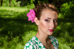 Face of nature. Lovely girl with a beautiful makeup stock photo