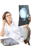 Face of nice female doctor in hospital Stock Photo