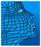 Face no azul ilustração royalty free