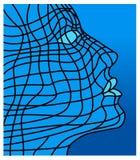 Face no azul Imagens de Stock Royalty Free