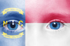 Face with north carolina state flag Stock Image