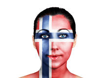 Face  with the Norway flag Royalty Free Stock Photography
