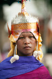 Face of Novice in Ordination parade on elephant's back Festival. Royalty Free Stock Image