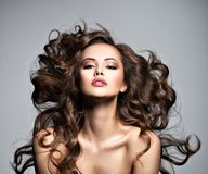 Free Face Of A Beautiful Woman With Long Flying Hair Royalty Free Stock Photos - 127534598