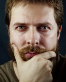 Face Of One Intelligent Serious Man Royalty Free Stock Image