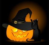 Face Of Pumpkin And Black Cat Stock Photos