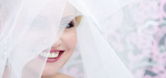 Face Of The Smiling Bride Stock Photo