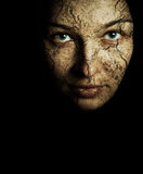 Face Of Woman With Cracked Dry Skin Stock Images