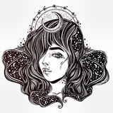 The face ofa girl with stars in her hair. Stock Photography