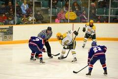 Face-off w NCAA meczu hokeja obrazy stock