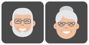 Face old people. Vector illustration stock illustration