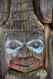 Face on Old Totem Royalty Free Stock Photos