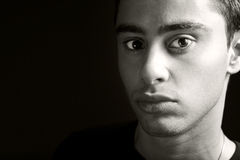 Face of one hispanic young man with copy space Royalty Free Stock Photo