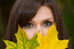 Face with open eyes of beautiful woman Royalty Free Stock Photo