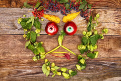 Face out of fruits and plants Stock Photo