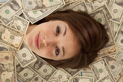 Face out of money Royalty Free Stock Photos