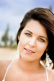 Face Of An Outdoor Beach Woman Royalty Free Stock Image