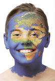 Face paint - africa. Face paint : girl with map painted on her face isolated on white stock images