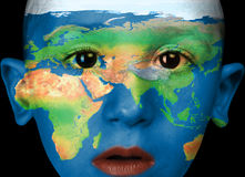 Face paint -africa, europa, asia Royalty Free Stock Photo