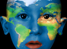 Face paint -america, africa, europa Royalty Free Stock Photos